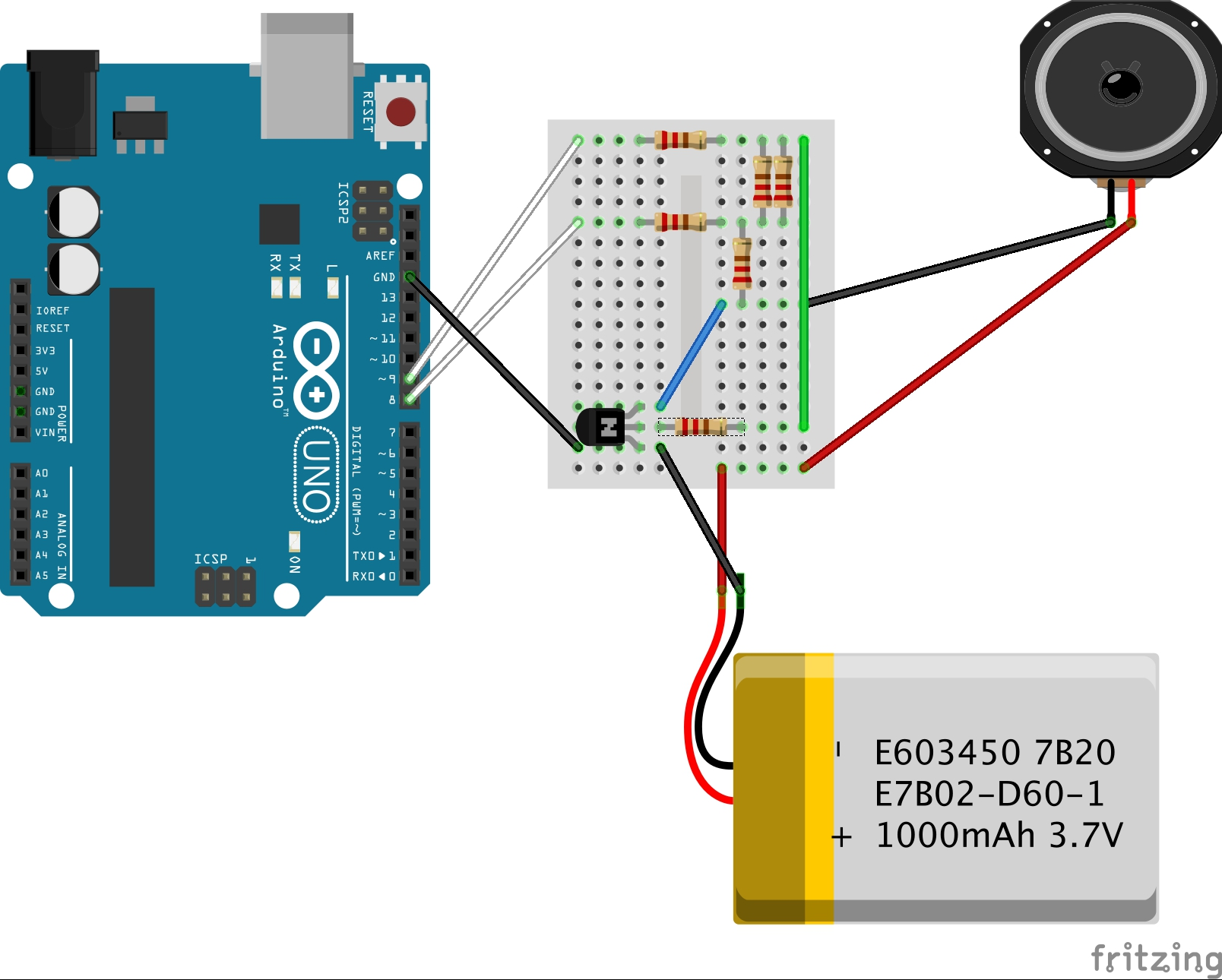 Play sound with Arduino Fritzing circuit